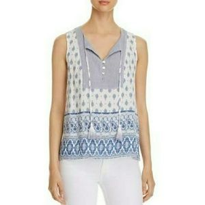 NWT Cupio Blue and White Sleeveless Top Medium
